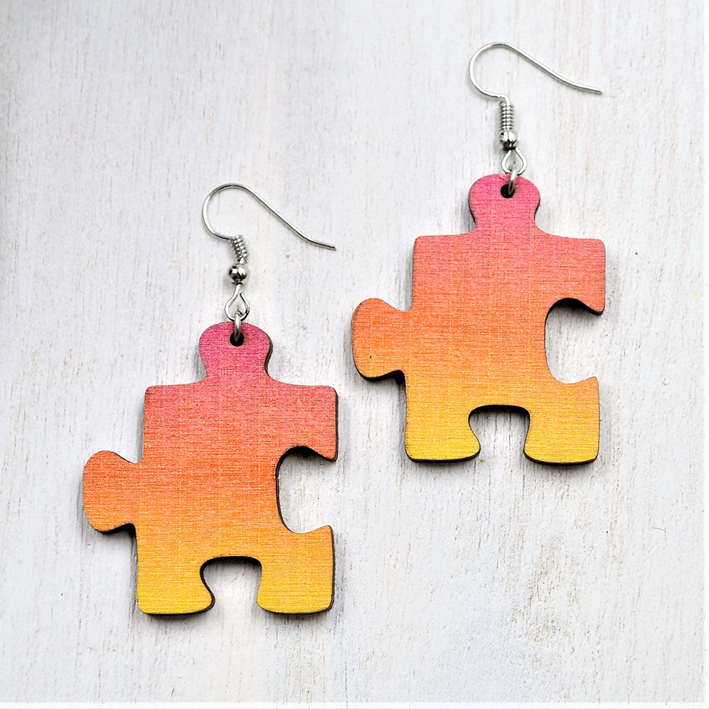 puzzle viseči uhani